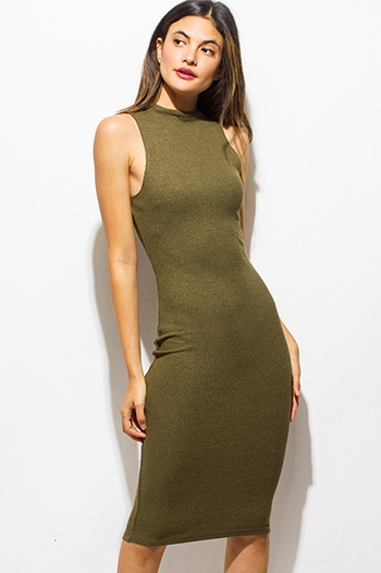 $15 - Cute cheap olive green ribbed knit mock neck sleeveless bodycon fitted midi dress