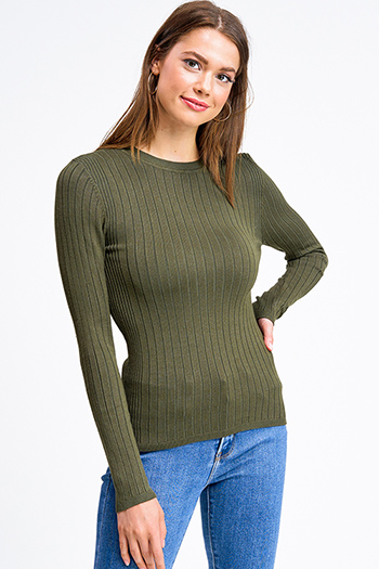 $20 - Cute cheap lime mustard green knit dolman sleeve ruched back boho shrug cardigan top - Olive green ribbed knit round neck long sleeve fitted sweater top