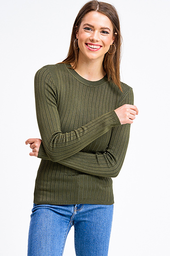 $20 - Cute cheap white asymmetrical hem quarter sleeve zip up fitted blazer jacket top - Olive green ribbed knit round neck long sleeve fitted sweater top