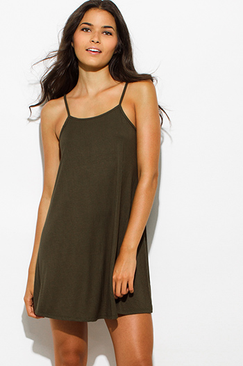 $10 - Cute cheap backless slit sun dress - olive green ribbed spaghetti strap backless sexy party mini dress