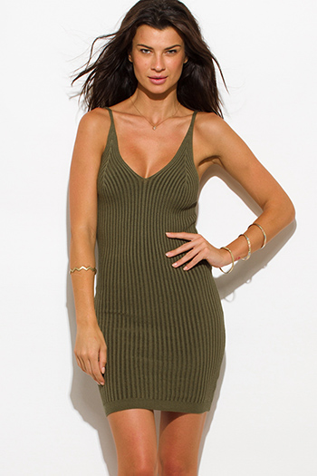 $12 - Cute cheap mesh backless open back fitted sexy club jumpsuit - olive green ribbed knit thin strap v neck open back fitted bodycon sweater midi dress