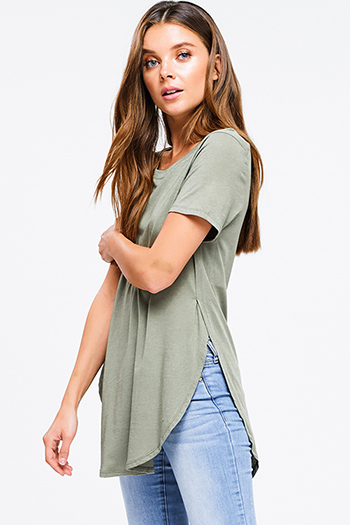 $12 - Cute cheap blue washed denim cuffed short sleeve button up pocketed mini shirt dress - Olive green round neck short sleeve side slit curved hem tee shirt tunic top