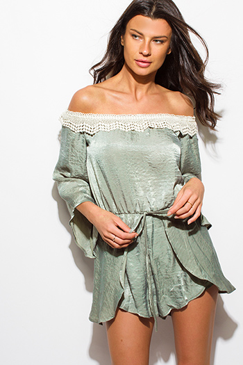 $15 - Cute cheap blush pink off shoulder bustier v neck flutter sleeve wide leg evening sexy party playsuit jumpsuit - olive green satin off shoulder crochet trim boho romper playsuit jumpsuit