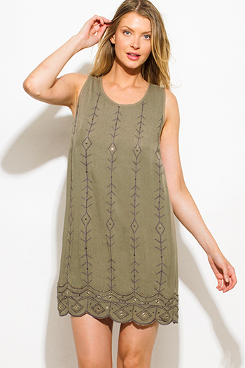 $15 - Cute cheap cotton crochet dress - olive green sequin embellished sleeveless scallop hem cocktail sexy party shift mini dress