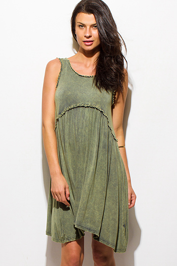 $15 - Cute cheap pocketed fitted mini dress - olive green sleeveless acid minderal wash scallop lace trim boho mini dress