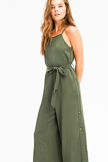 $25 - Cute cheap navy blue washed denim skinny jeans button up pocketed overalls jumpsuit - Olive green sleeveless apron front open back tie waist button side detail boho wide leg culotte jumpsuit