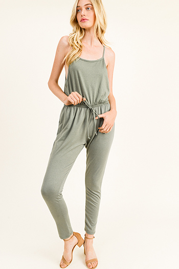 $20 - Cute cheap green cotton blouse - Olive green sleeveless drawstring lounge pocketed harem jogger jumpsuit