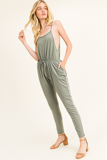 $20 - Cute cheap v neck slit jumpsuit - Olive green sleeveless drawstring lounge pocketed harem jogger jumpsuit