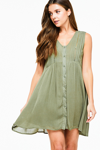 $15 - Cute cheap print crochet mini dress - Olive green sleeveless empire waist button up boho swing mini dress