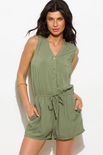 $15 - Cute cheap cape jumpsuit - olive green sleeveless pocketed drawstring waist romper playsuit jumpsuit