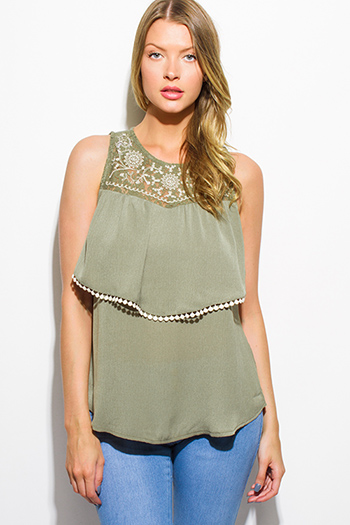 $10 - Cute cheap olive green sleeveless tiered crochet trim boho blouse tank top