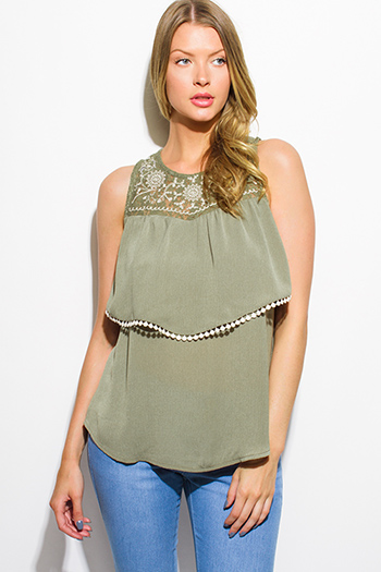 $10 - Cute cheap satin asymmetrical blouse - olive green sleeveless tiered crochet trim boho blouse tank top
