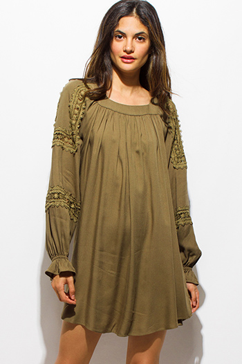 $15 - Cute cheap boho crochet tunic - olive green square neck long blouson sleeve boho peasant tunic mini dress