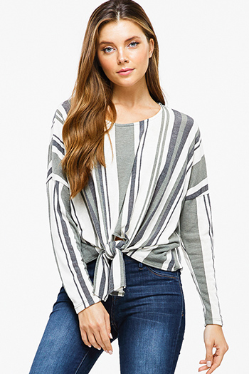 $15 - Cute cheap navy blue cotton long sleeve ethnic print sweater knit contrast button up boho blouse top - Olive green striped long sleeve round neck tie front boho top
