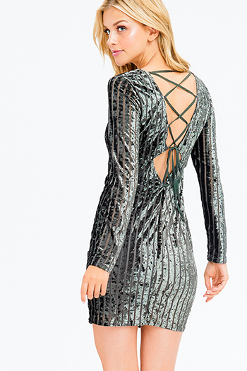 $15 - Cute cheap open back fitted party catsuit - olive green striped velvet long sleeve v neck cut out caged back sexy club mini dress