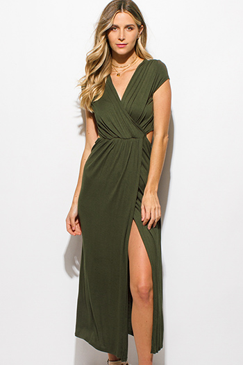 $15 - Cute cheap cotton boho sun dress - olive green surplice faux wrap cap sleeve cut out ruched side slit maxi sun dress