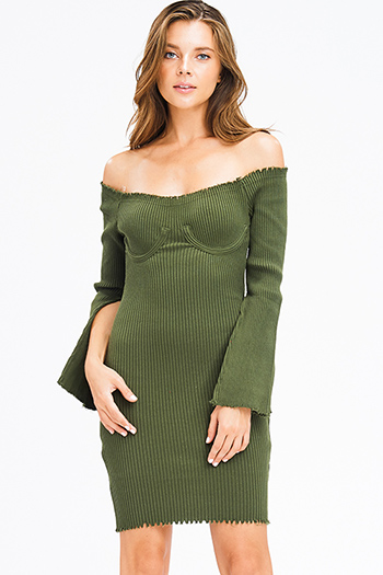 $20 - Cute cheap print sheer evening dress - olive green sweater ribbed knit off shoulder long slit bell sleeve fitted bodycon sexy club midi dress