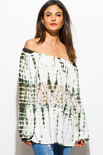 $15 - Cute cheap olive green tie dye crochet long blouson sleeve off shoulder boho peasant top