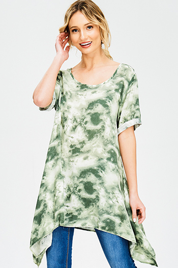 $12 - Cute cheap brown open back dress - olive green tie dye cuffed short sleeve asymmetrical hem tunic boho mini sun dress