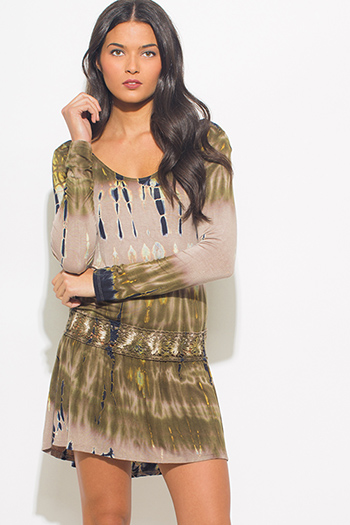 $15 - Cute cheap wrap sun dress - olive green tie dye long sleeve crochet trim boho mini sun dress