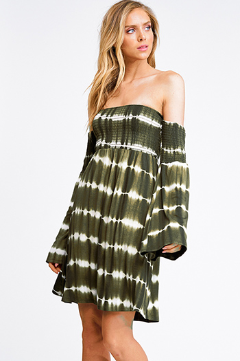$15 - Cute cheap print sexy club dress - Olive green tie dye smocked off shoulder long bell sleeve boho mini dress