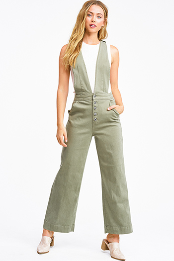 $20 - Cute cheap off shoulder boho jumpsuit - Olive green twill denim a-line wide leg pocketed button up boho overalls jumpsuit
