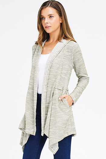 $15 - Cute cheap charcoal gray black ethnic print waterfall open front draped sweater knit boho cardigan - olive green two toned knit long sleeve pocketed hooded open front cardigan jacket