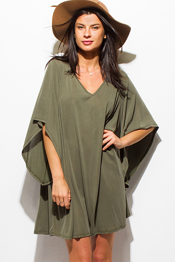 $15 - Cute cheap boho - olive green v neck butterfly bell sleeve boho tunic mini dress