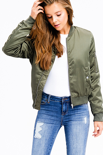 $25 - Cute cheap navy blue sheer floral print zip up boho bomber jacket - olive green zip up banded hem pocketed moto cropped puff bomber jacket