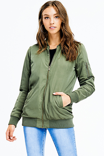 $20 - Cute cheap green coat - olive green zip up banded hem pocketed moto puff bomber jacket