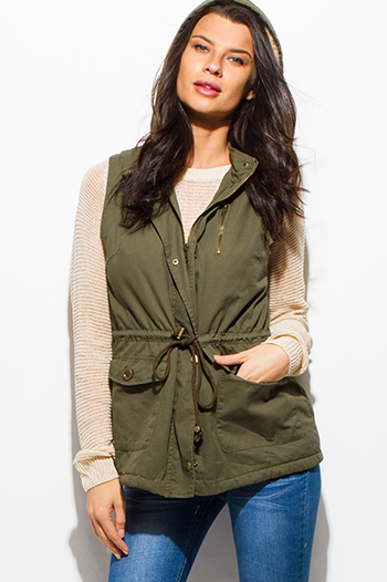 $25 - Cute cheap interview outfits - olive green zip up buttoned faux fur lined pocketed hooded drawstring puffer cargo trench vest