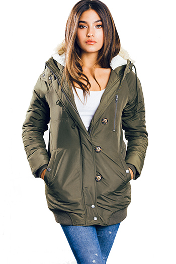$25 - Cute cheap olive green zip up pocketed button trim hooded puffer coat jacket
