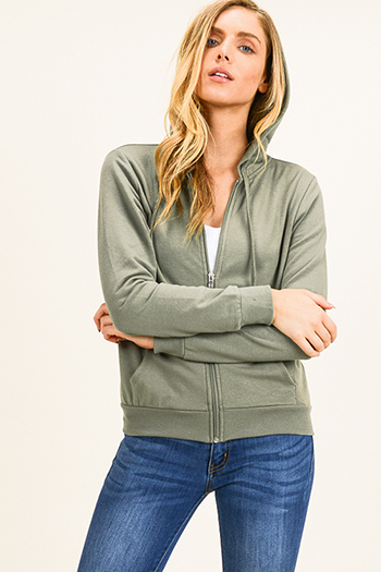 $14 - Cute cheap beach cover up - Olive green zip up pocketed zip up sweatshirt hoodie