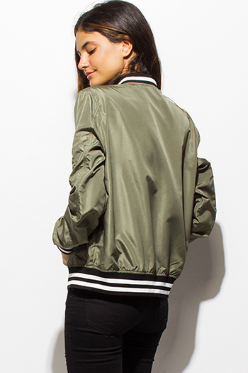 $20 - Cute cheap ivory white sheer stripe mesh contrast asymmetrical zip up moto blazer jacket top - olive green zip up stripe banded cropped bomber jacket