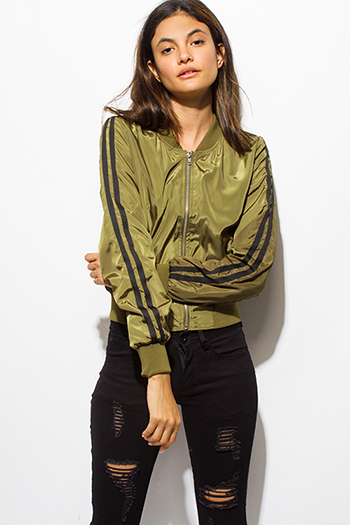 $20 - Cute cheap black zip up stripe banded crop bomber jacket - olive green zip up striped long sleeve pocketed bomber jacket