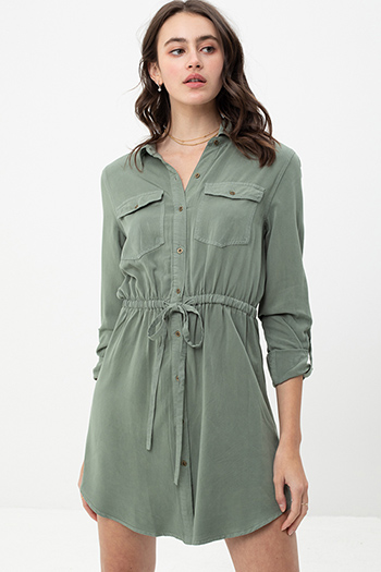 $25.00 - Cute cheap beach cover up - olive long sleeve tie waist button up boho mini shirt dress