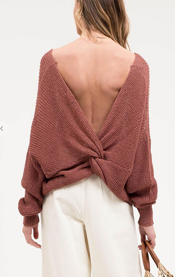 $16.25 - Cute cheap fall - open back twist sweater