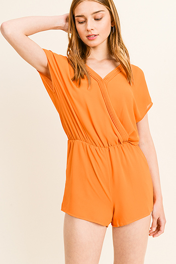 $13 - Cute cheap marigold yellow stripe linen belted pocketed resort boho paperbag summer shorts chiffon white sun strapless beach sheer light resort gauze tropical floral - Orange chiffon pleated surplice v neck short sleeve resort pocketed romper