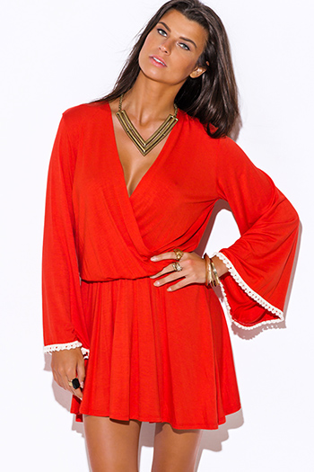 $10 - Cute cheap sheer boho mini dress - orange crochet trim low v neck backless long kimono bell sleeve boho mini dress