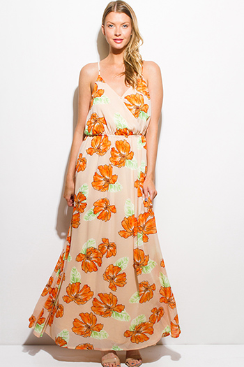 $20 - Cute cheap strapless formal sun dress - orange floral print chiffon faux wrap keyhole back boho evening maxi sun dress