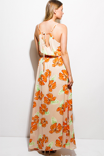 $15 - Cute cheap print sheer evening dress - orange floral print chiffon faux wrap keyhole back boho evening maxi sun dress