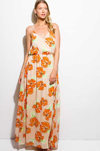 $20 - Cute cheap sky blue floral print faux wrap ruffle cold shoulder boho mini sun dress - orange floral print chiffon faux wrap keyhole back boho evening maxi sun dress