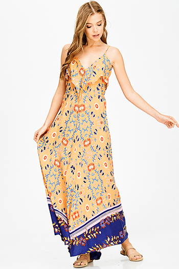 $15 - Cute cheap sheer boho maxi dress - orange multicolor abstract ethnic print ruffle tiered cut out backless boho maxi sun dress