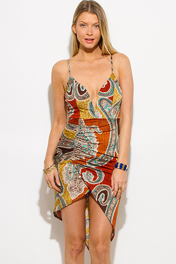 $15 - Cute cheap open back wrap dress - orange multicolor ethnic paisley print deep v neck ruched caged back fitted sexy club midi dress