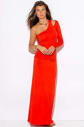 $15 - Cute cheap cotton maxi dress - orange red one shoulder cut out sleeve ruched fitted summer maxi dress
