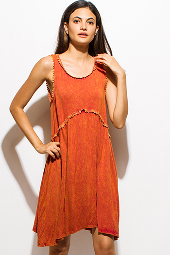$15 - Cute cheap draped open back dress - orange rust sleeveless acid minderal wash scallop lace trim boho mini dress