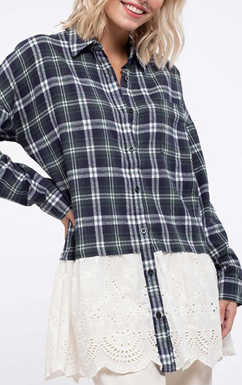 $22.75 - Cute cheap crochet blouse - Oversized Flannel Crochet Top Woven plaid crochet top