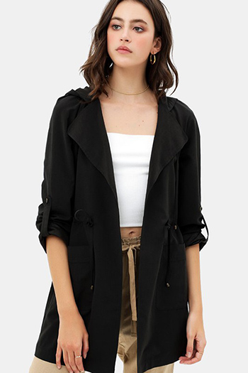 $25 - Cute cheap jacket - oversized hooded long line trench jacket coat