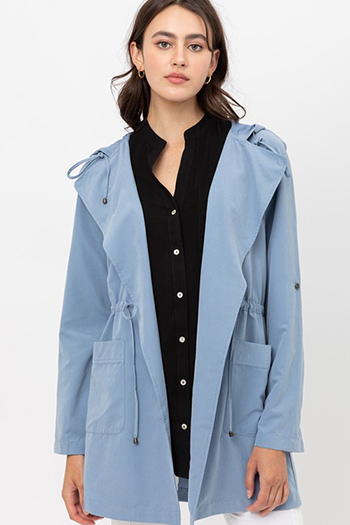 $25.00 - Cute cheap jacket - Oversized Hooded Long Line Trench Jacket Coat