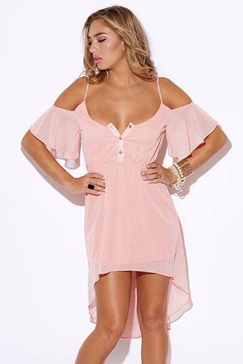 $20 - Cute cheap ruched bodycon sexy party dress - pastel light pink chiffon cold shoulder ruffle boho high low party dress
